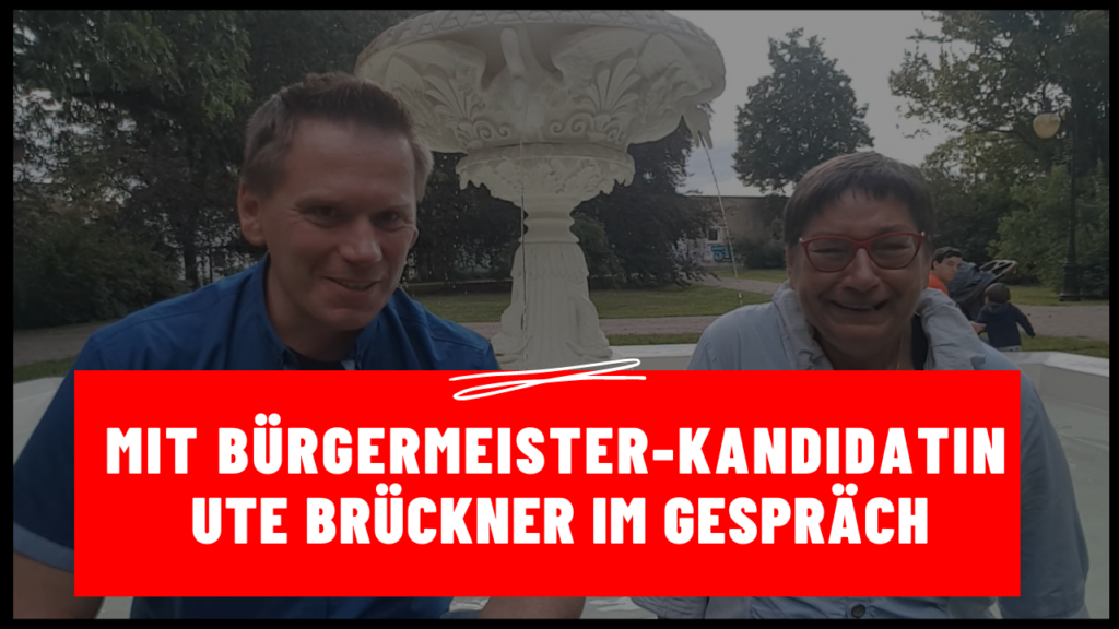 Zwickau – Maik Klaumünzer mit Bürgermeister-Kandidatin Ute Brückner im Gespräch